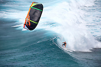 """Professional kiteboarder Cameron Dietrich pulls into infamous """"P-Pass"""" wave in Pohnpei, Micronesia with a Cabrinha kite."""