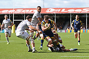 Worcester Warriors Sam Lewis  Flanker (7) powers through a tackle first half during the Aviva Premiership match between Worcester Warriors and Bath Rugby at Sixways Stadium, Worcester, United Kingdom on 15 April 2017. Photo by Gary Learmonth.