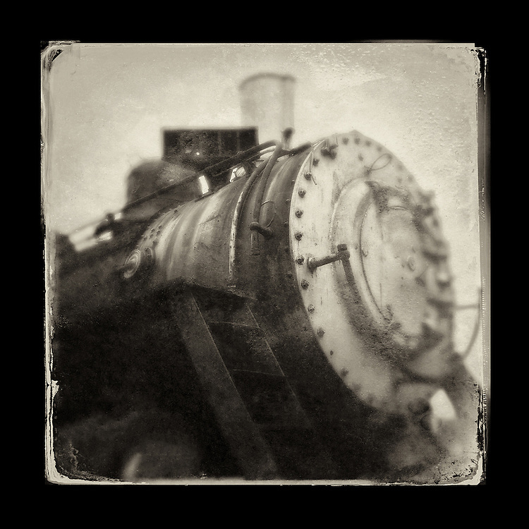"Charles Blackburn Instagram image of a locomotive engine in Snoqualmie, WA. 5x5"" print."
