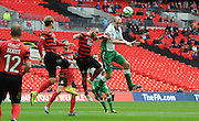 Russell Fry leaps highest to win the header during the FA Carlsberg Trophy Final match between North Ferriby United and Wrexham FC at Eon Visual Media Stadium, North Ferriby, United Kingdom on 29 March 2015. Photo by Michael Hulf.