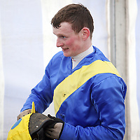 Dermot O' Halloran gets himself ready for the next race at the Killaloe Point to Point on Sunday.<br /><br /><br /><br />Photograph by Yvonne Vaughan.