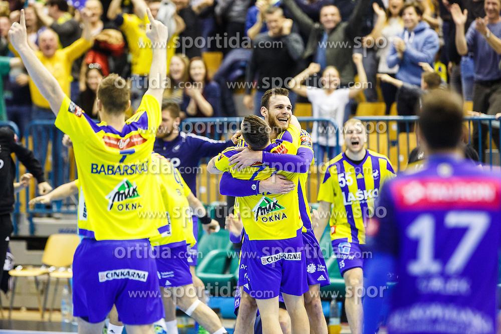 Mackovsek Borut #51 of RK Celje Pivovarna Lasko Zarabec Miha #23 of RK Celje Pivovarna Lasko during handball match between RK Celje Pivovarna Lasko (SLO) and KS Viive Tauron Kielce (POL) in Group phase of EHF Men's Champions League 2016/17, on February 19, 2017 in Arena Zlatorog, Celje, Slovenia. Photo by Grega Valancic