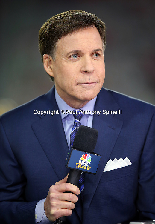 NBC Sports television sportscaster Bob Costas does a sideline report before the Green Bay Packers NFL NFC Divisional round playoff football game against the Arizona Cardinals on Saturday, Jan. 16, 2016 in Glendale, Ariz. The Cardinals won the game in overtime 26-20. (©Paul Anthony Spinelli)