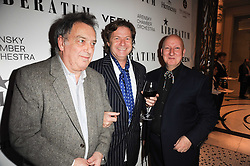 Left to right, STEPHEN FREARS, DANNY MOYNIHAN and STEPHEN JONES at the Liberatum Dinner hosted by Ella Krasner and Pablo Ganguli in honour of Sir V S Naipaul at The Landau at The Langham, Portland Place, London on 23rd November 2010.