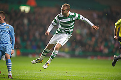 GLASGOW, SCOTLAND - Monday, November 7, 2011: Glasgow Celtic's Dylan McGeouch scores the first goal against Manchester City during the NextGen Series Group 1 match at Celtic Park. (Pic by David Rawcliffe/Propaganda)