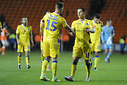 Bristol Rovers Defender, James Clarke (15) and Bristol Rovers Forward, Tom Nichols (10) during the EFL Sky Bet League 1 match between Blackpool and Bristol Rovers at Bloomfield Road, Blackpool, England on 3 November 2018.