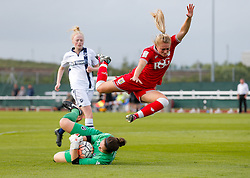 Millie Farrow of Bristol City Women goes flying over the Milwall keeper - Mandatory byline: Rogan Thomson/JMP - 09/07/2016 - FOOTBALL - Stoke Gifford Stadium - Bristol, England - Bristol City Women v Milwall Lionesses - FA Women's Super League 2.