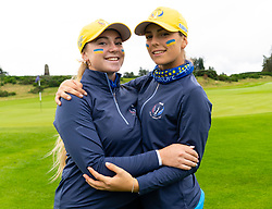 Auchterarder, Scotland, UK. 10 September 2019. Day one of the Junior Solheim Cup 2019 at the Centenary Course at Gleneagles. Tuesday Morning Foursomes. Pictured left Lucie Malchirand, right Benedetta Moresco of Europe after winning 4&3.  Iain Masterton/Alamy Live News