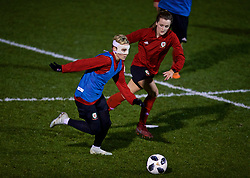 CARDIFF, WALES - Wednesday, January 16, 2019: Wales' Jessica Fishlock, wearing a protective face mask, during a training session at Dragon Park ahead of the International Friendly game against Italy. (Pic by David Rawcliffe/Propaganda)