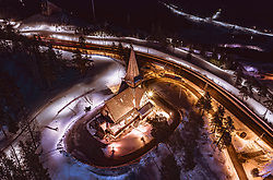 THEMENBILD - die illuminierte Holmenkollen Kapelle am Abend, aufgenommen am 08. Maerz 2019 in Oslo, Norwegen // the illuminated Holmenkollen chapel in the evening, Oslo, Norway on 2018/03/08. EXPA Pictures © 2019, PhotoCredit: EXPA/ JFK