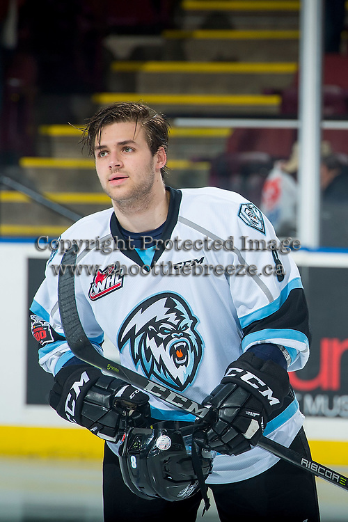 KELOWNA, CANADA - DECEMBER 2: Alec Baer #8 of the Kootenay Ice puts his helmet on after the national anthem against the Kelowna Rockets on December 2, 2017 at Prospera Place in Kelowna, British Columbia, Canada.  (Photo by Marissa Baecker/Shoot the Breeze)  *** Local Caption ***