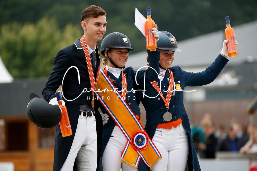 Podium Young Riders,Donkers Esmee, De Koyer Jasmien, Bernosky Robin, NED<br /> Nederlands Kampioenschap Dressuur <br /> Ermelo 2017<br /> &copy; Hippo Foto - Dirk Caremans<br /> 16/07/2017