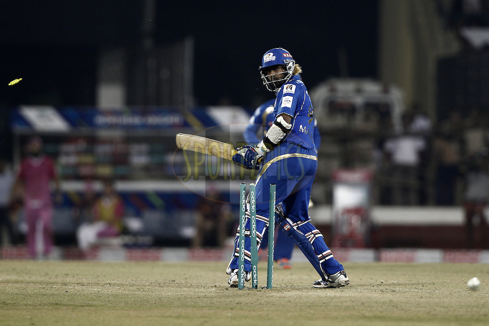 Lasith Malinga of the Mumbai Indians bowled  during the qualifier 6 match of the Oppo Champions League Twenty20 between the Mumbai Indians and the Northern Knights held at the Chhattisgarh International Cricket Stadium, Raipur, India on the 16th September 2014<br /> <br /> Photo by:  Deepak Malik / Sportzpics/ CLT20<br /> <br /> <br /> Image use is subject to the terms and conditions as laid out by the BCCI/ CLT20.  The terms and conditions can be downloaded here:<br /> <br /> http://sportzpics.photoshelter.com/gallery/CLT20-Image-Terms-and-Conditions-2014/G0000IfNJn535VPU/C0000QhhKadWcjYs