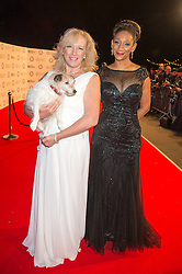 Left to right, CLAIRE HORTON Chief Executive of Battersea Dogs & Cats Home and singer DEBBIE SLEDGE from Sister Sledge at the Battersea Dogs & Cats Home's Collars & Coats Gala Ball held at Battersea Evolution, Battersea Park, London on 12th November 2015.