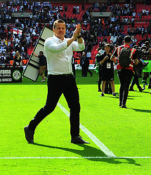 Forest Green Rovers manager Mark Cooper thanks fans after the final whistle - Mandatory by-line: Nizaam Jones/JMP - 14/05/2017 - FOOTBALL - Wembley Stadium- London, England - Forest Green Rovers v Tranmere Rovers - Vanarama National League Final