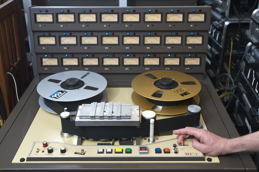 Tyler Morrison's favorite recording gear, a prized 1977 MCI JH-16 24-track tape machine used in the control room, Thursday, July 26, 2012, at Liquid Sound Studios in Greenville, Ind. (Photo by Brian Bohannon)