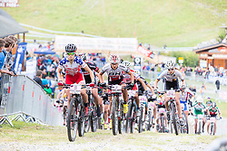 The women's U23 field at the start of the 2014 UCI Mountainbike World Cup at Méribel, France.