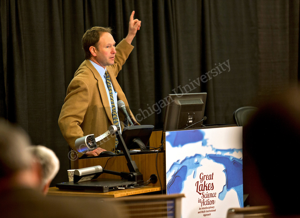 Great Lakes research, restoration, conservation and the lakes&rsquo; economic impact highlighted discussions today at a symposium sponsored by Central Michigan University&rsquo;s Institute for Great Lakes Research.  <br /> <br /> Photo by Steve Jessmore/Central Michigan University