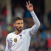 ANDORRA LA VELLA, ANDORRA. June 1.  Olivier Giroud #9 of France in action during the Andorra V France 2020 European Championship Qualifying, Group H match at the Estadi Nacional d'Andorra on June 11th 2019 in Andorra (Photo by Tim Clayton/Corbis via Getty Images)
