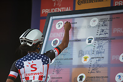 Coryn Rivera (USA) of Team Sunweb sings on for the Prudential RideLondon Classique - a 64.8 km road race, starting and finishing in central London on July 28, 2018, in London, United Kingdom. (Photo by Balint Hamvas/Velofocus.com)