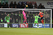 Forest Green Rovers goalkeeper Bradley Collins(1) punches clear a cross during the EFL Sky Bet League 2 match between Forest Green Rovers and Luton Town at the New Lawn, Forest Green, United Kingdom on 16 December 2017. Photo by Shane Healey.