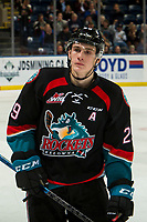 KELOWNA, CANADA - DECEMBER 5:  Nolan Foote #29 of the Kelowna Rockets skates during the shoot out against the Tri-City Americans on December 5, 2018 at Prospera Place in Kelowna, British Columbia, Canada.  (Photo by Marissa Baecker/Shoot the Breeze)