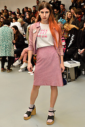 "© Licensed to London News Pictures. 23/02/2016.  LUISA LE VOGUER COUYET wears a t-shirt with the words ""FUCK TORY SCUM""  at the the ASHLEY WILLIAMS show at the London Fashion Week Autumn/Winter 2016 show. Models, buyers, celebrities and the stylish descend upon London Fashion Week for the Autumn/Winters 2016 clothes collection shows. London, UK. Photo credit: Ray Tang/LNP"