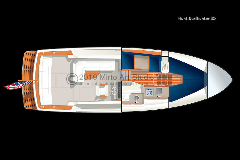 Vector rendering of the deck accommodation plan of the Hunt Surfhunter 33 yacht.