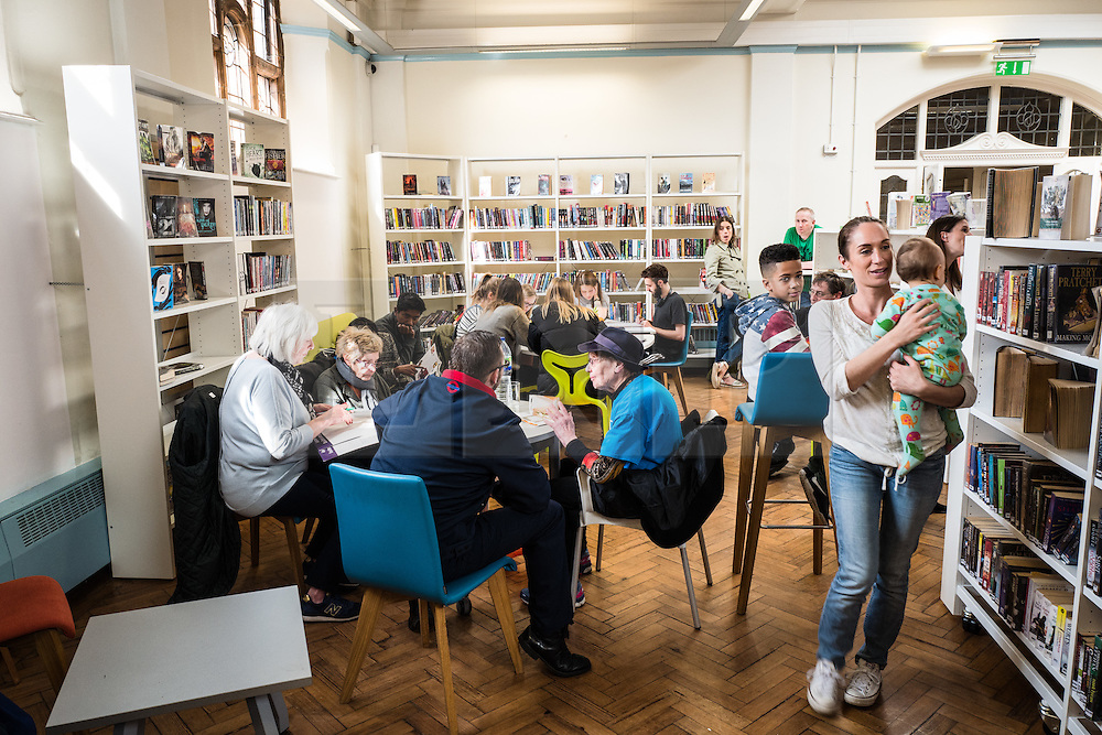© Licensed to London News Pictures. 01/04/2016. London, UK. Local residents occupying the Carnegie Library in Herne Hill, south London, in an effort to prevent its closure. Lambeth Council had planned to close the library last night (31st March) in order to turn it into a 'healthy living centre'. Photo credit : Rob Pinney/LNP