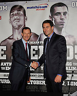 Picture by Alan Stanford/Focus Images Ltd +44 7915 056117<br /> 04/10/2013<br /> Sky's Adam Smith (L) and Promoter Eddie Hearn announce a new T.V. deal at The O2 Arena, London.