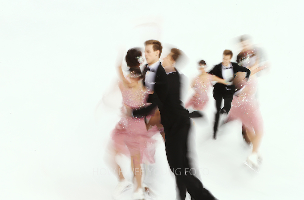 Elena Ilinykh and Nikita Katsalapov of Russia react during the Ice Dance Short Dance of the Figure Skating event at the Iceberg Palace during the Sochi 2014 Olympic Games, Sochi, Russia, 16 February 2014.