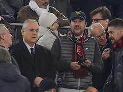 February 26, 2019 - Rome, Italy - Matteo Salvini and Claudio Lotito before the Italian Cup football match between SS Lazio and AC Milan at the Olympic Stadium in Rome, on february 26, 2019. (Credit Image: © Silvia Lore/NurPhoto via ZUMA Press)