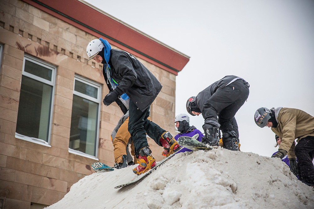 The Downtown Showdown ski and snowboard rail jam in downtown Marquette, Michigan.