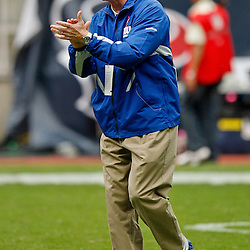 October 10, 2010; Houston, TX USA; New York Giants head coach Tom Coughlin on the field prior to a game against the Houston Texans at Reliant Stadium. Mandatory Credit: Derick E. Hingle