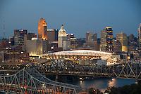 Photo of Downtown Cincinnati with a lit Paul Brown Stadium