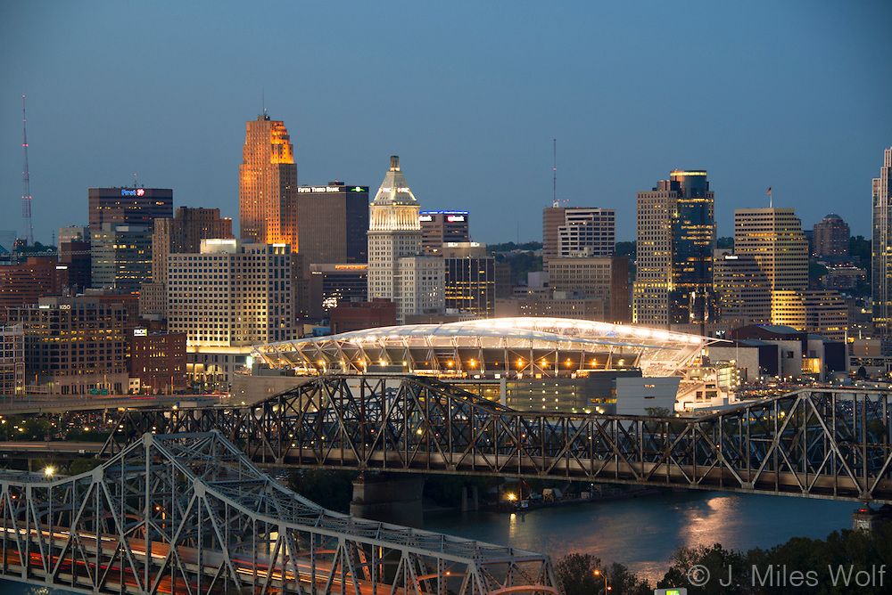 Photo of Downtown Cincinnati with a lit Paul Brown Stadium