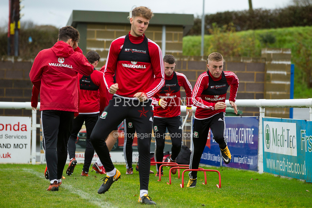 BANGOR, WALES - Tuesday, November 7, 2017: Wales' players during a training session at VSM Bangor City Stadium ahead of the UEFA Under-21 European Championship Qualifying Group 8 match against Bosnia and Herzegovina. (Pic by Paul Greenwood/Propaganda)