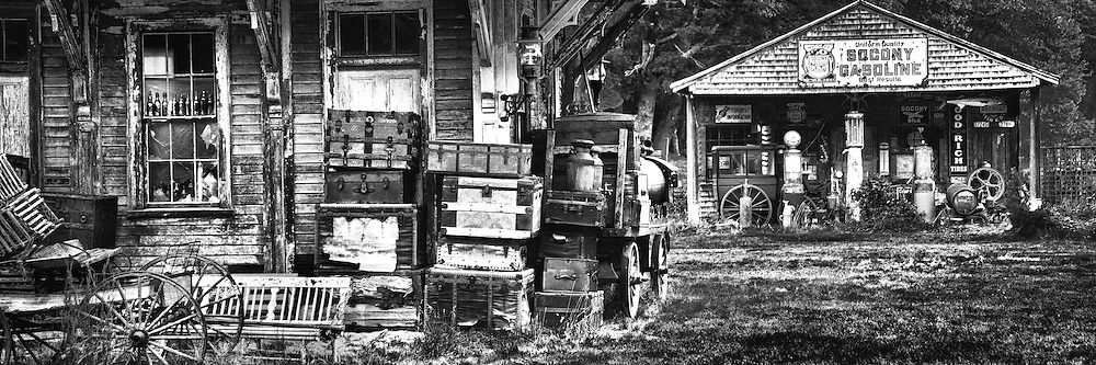 Antiques and collectables stacked outside a vintage train station in Wells, Maine seem an attempt to hold onto the past.