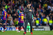 Liverpool manager Jurgen Klopp thanks fans at the end of the game during the Champions League semi-final leg 1 of 2 match between Barcelona and Liverpool at Camp Nou, Barcelona, Spain on 1 May 2019.