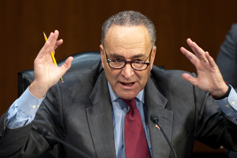 """Senator CHUCK SCHUMER (D-NY) makes a statement to members of the Senate Judiciary Committee as they discuss the """"Respect for Marriage Act,"""" legislation which would repeal the Defense of Marriage Act (DOMA). DOMA is the Clinton-era law that defined marriage between a man and a woman. The Committee voted 10-8 along party lines in favor for the Respect for Marriage Act."""