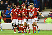 The Reds celebrate after Nottingham Forest forward Lee Tomlin (15) scored to make it 1-0 during the EFL Sky Bet Championship match between Nottingham Forest and Barnsley at the City Ground, Nottingham, England on 24 April 2018. Picture by Jon Hobley.