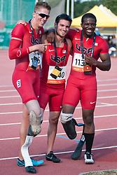 WALLACE Jarryd, PRINCE David, SINGLETON Jerome, USA, 200m, T44, 2013 IPC Athletics World Championships, Lyon, France