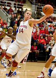 December 15, 2009; Stanford, CA, USA;  Stanford Cardinal forward Kayla Pedersen (14) grabs a rebound during the first half against the Duke Blue Devils at Maples Pavilion.