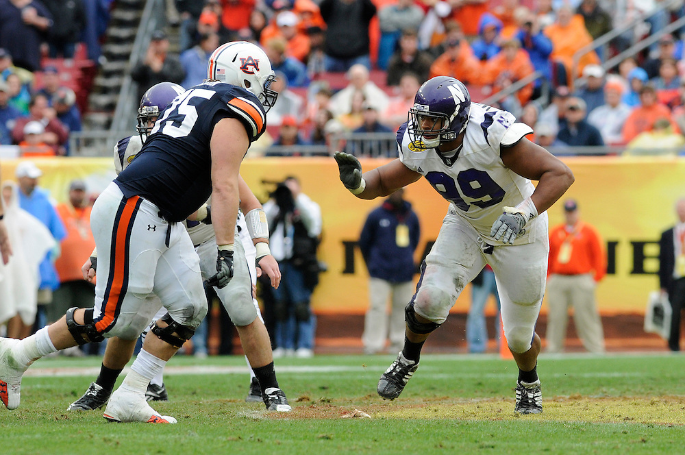 January 1, 2010: Corey Wootten of the Northwestern Wildcats in action during the NCAA football game between the Northwestern Wildcats and the Auburn Tigers in the Outback Bowl. The Tigers defeated the Wildcats 38-35 in overtime.