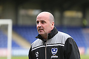 Portsmouth manager Paul Cook during the Sky Bet League 2 match between AFC Wimbledon and Portsmouth at the Cherry Red Records Stadium, Kingston, England on 26 April 2016.