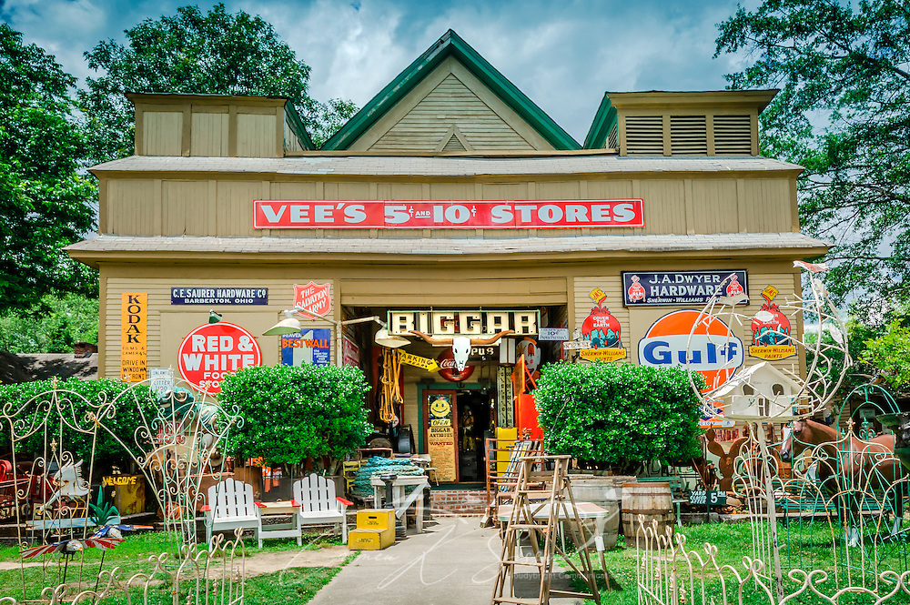 Vintage advertisements cover the front facade of Biggar's Antiques in Chamblee, Georgia, June 10, 2014. The family-owned shop was founded in New York and supplies props for many of Hollywood's most popular movies. (Photo by Carmen K. Sisson/Cloudybright)