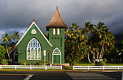 The famous green church in Hanalei, Kauai, Hawaii.