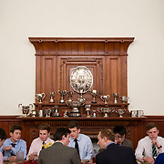 "Pupils dine at a boarding house at Rugby School in central England, March 18, 2015.  The public school, founded in 1567 was amongst the first ""Public"" schools in England. The school is known as the home of rugby. Local legend  states that in 1823 pupil William Webb Ellis first ran with the ball inventing the game of rugby football which took its name from the school. In 2015 20 countries will compete in the Rugby World Cup which is hosted by England REUTERS/Neil Hall"
