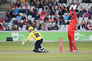 Ed Pollock of the Birmingham Bears LBW during the Vitality T20 Blast North Group match between Lancashire Lightning and Birmingham Bears at the Emirates, Old Trafford, Manchester, United Kingdom on 10 August 2018.