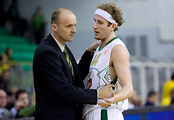 Head coach of Olimpija Jure Zdovc and Matt Vincent Walsh (44) of Olimpija at Euroleague basketball match of Group C between KK Union Olimpija, Ljubljana and Maroussi B.C., Athens, on October 29, 2009, in Arena Tivoli, Ljubljana, Slovenia. Olimpija lost 75:81.  (Photo by Vid Ponikvar / Sportida)